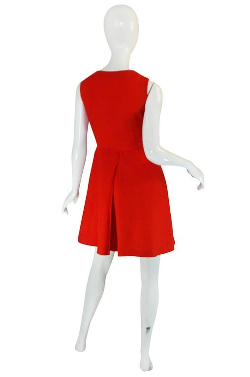 1960s Geoffrey Beene Boutique Red Linen Dress 2
