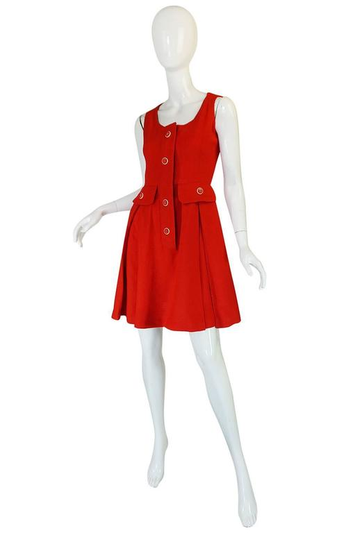 1960s Geoffrey Beene Boutique Red Linen Dress In Excellent Condition For Sale In Toronto, ON