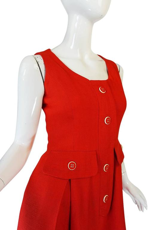 1960s Geoffrey Beene Boutique Red Linen Dress For Sale 4