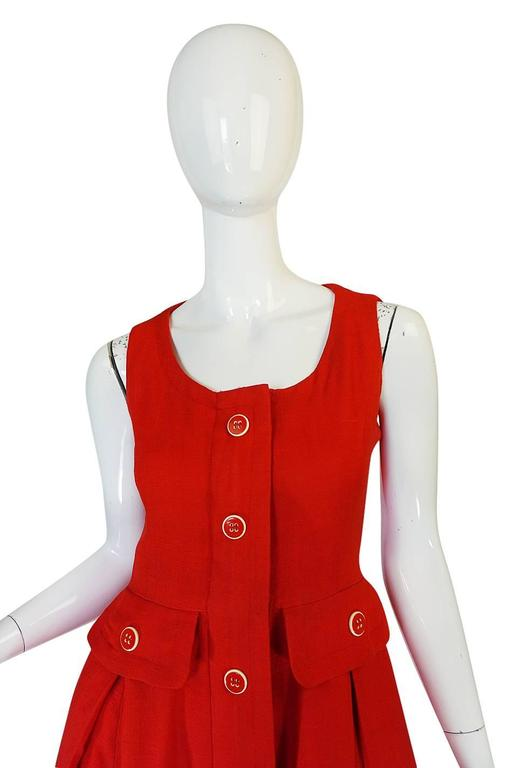 1960s Geoffrey Beene Boutique Red Linen Dress For Sale 1