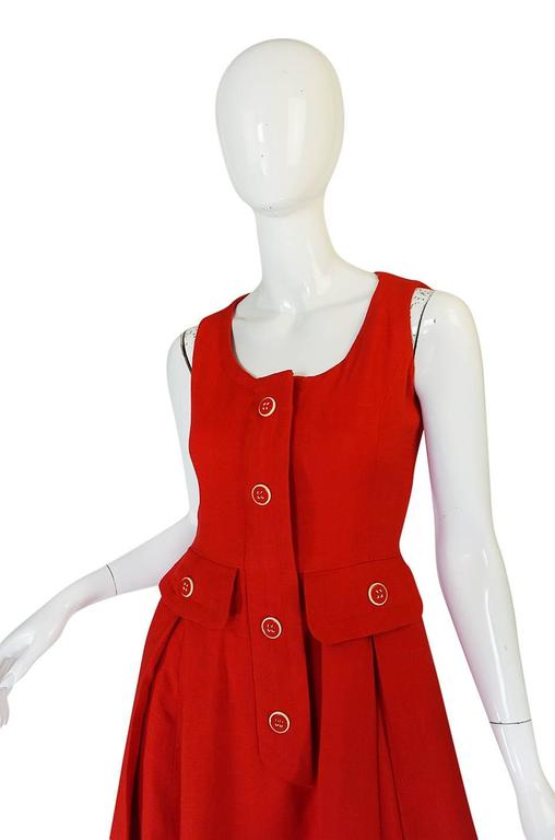 1960s Geoffrey Beene Boutique Red Linen Dress For Sale 2