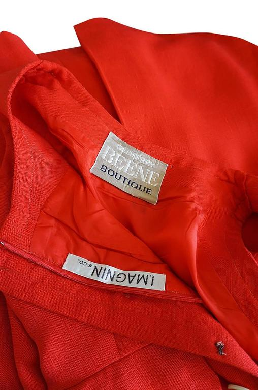 1960s Geoffrey Beene Boutique Red Linen Dress For Sale 5