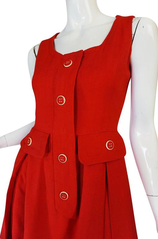 1960s Geoffrey Beene Boutique Red Linen Dress For Sale 3