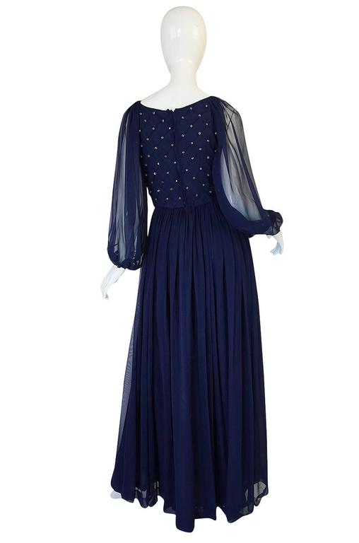 1970s Roberto Capucci Deep Blue Chiffon & Bead Dress 2