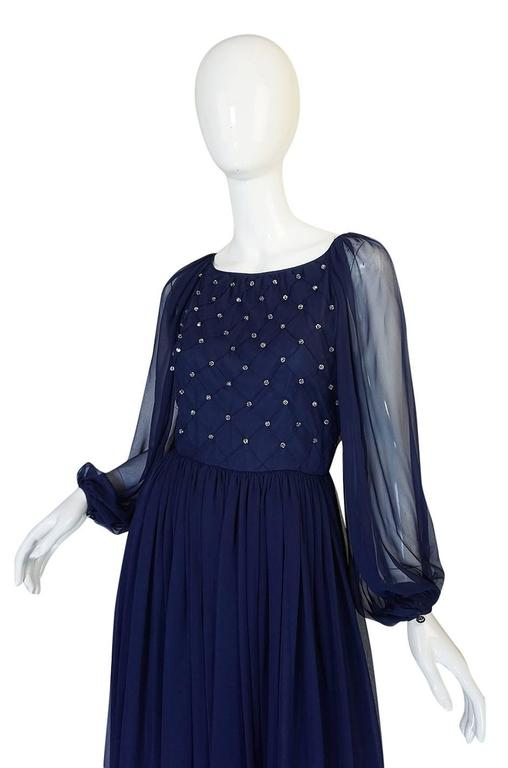 1970s Roberto Capucci Deep Blue Chiffon & Bead Dress 5