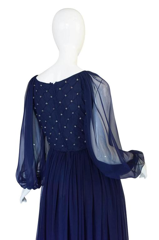 1970s Roberto Capucci Deep Blue Chiffon & Bead Dress 6