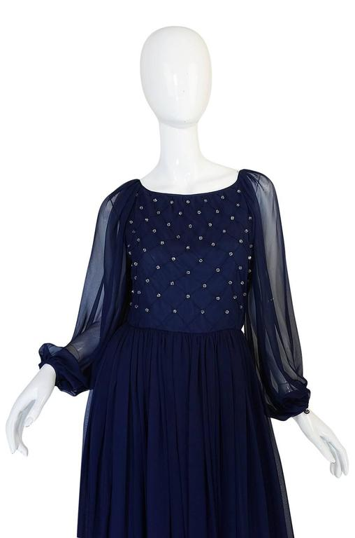 1970s Roberto Capucci Deep Blue Chiffon & Bead Dress 4
