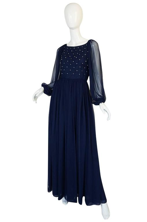1970s Roberto Capucci Deep Blue Chiffon & Bead Dress 3