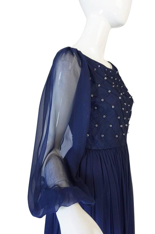 1970s Roberto Capucci Deep Blue Chiffon & Bead Dress 8