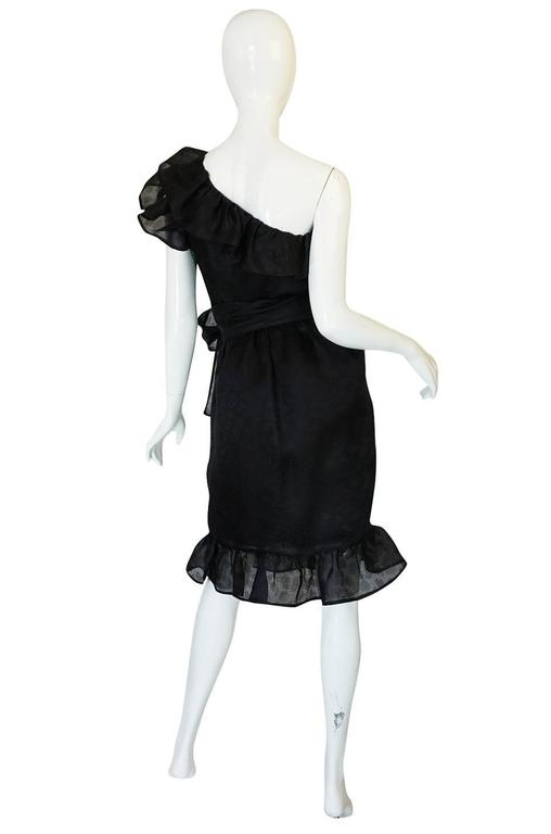 1970s Givenchy One Shoulder Black Silk Cocktail Dress 2