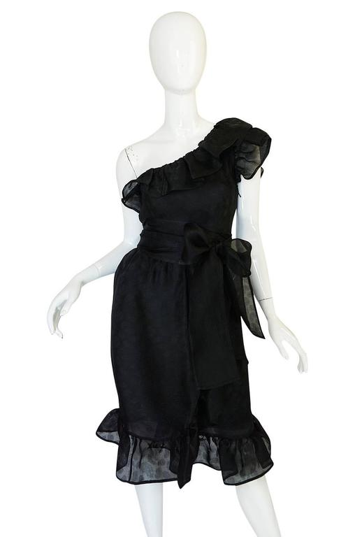 1970s Givenchy One Shoulder Black Silk Cocktail Dress 3