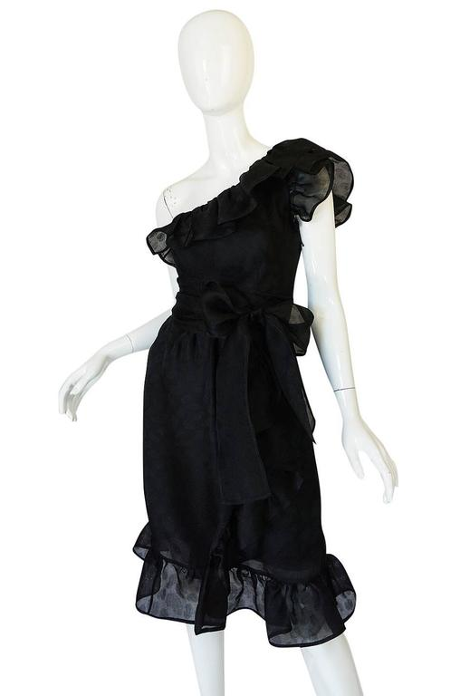 1970s Givenchy One Shoulder Black Silk Cocktail Dress 4