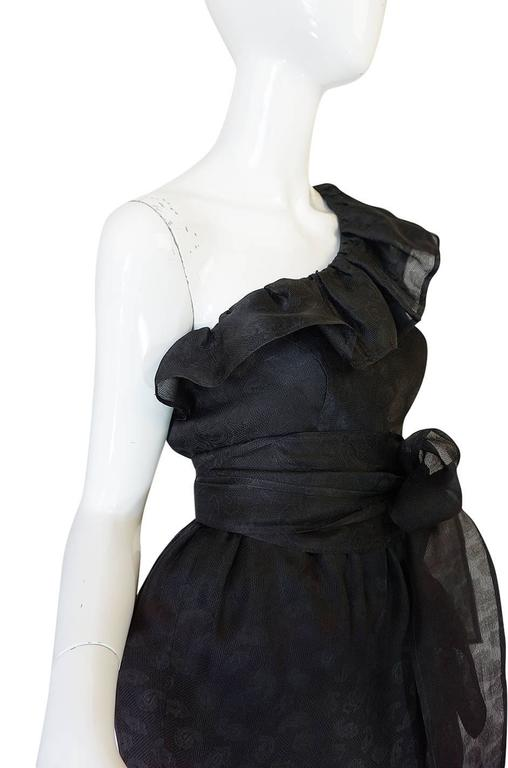 1970s Givenchy One Shoulder Black Silk Cocktail Dress 7