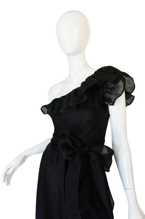 1970s Givenchy One Shoulder Black Silk Cocktail Dress 6