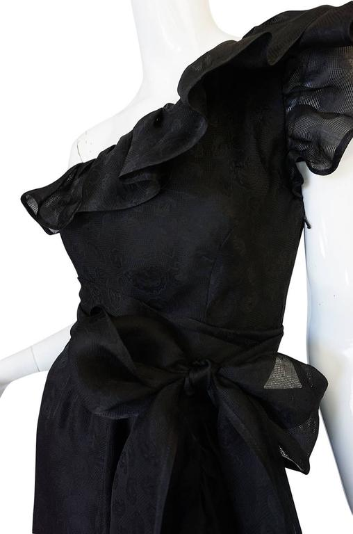 1970s Givenchy One Shoulder Black Silk Cocktail Dress 8