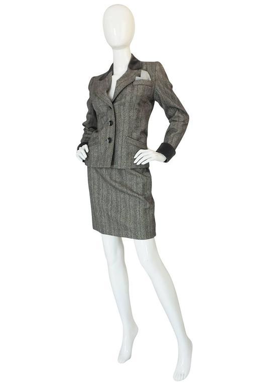 Gray 1980s Yves Saint Laurent Haute Couture Herringbone Suit For Sale
