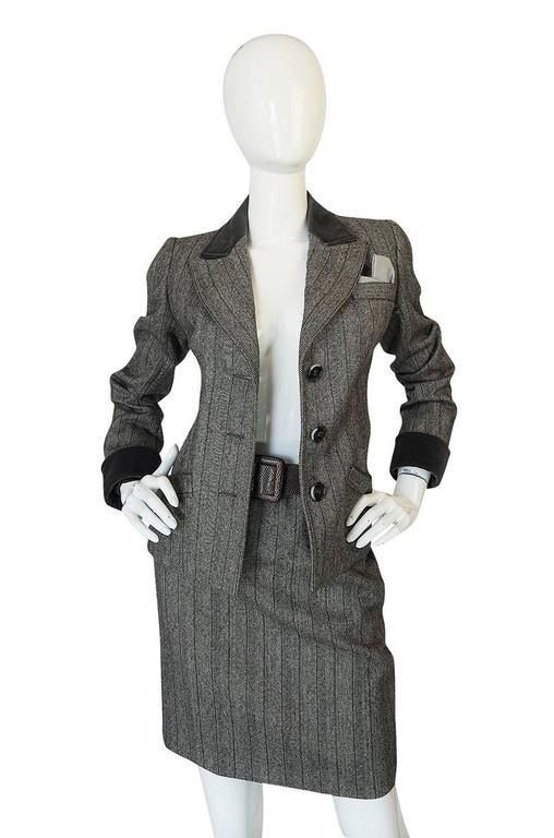 1980s Yves Saint Laurent Haute Couture Herringbone Suit In Excellent Condition For Sale In Toronto, CA