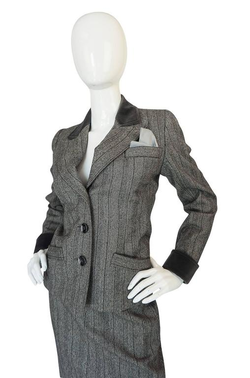 1980s Yves Saint Laurent Haute Couture Herringbone Suit For Sale 1