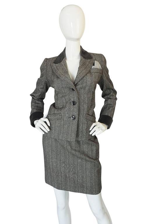 Women's 1980s Yves Saint Laurent Haute Couture Herringbone Suit For Sale