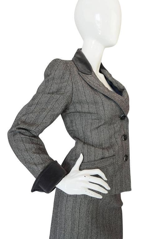 1980s Yves Saint Laurent Haute Couture Herringbone Suit For Sale 2