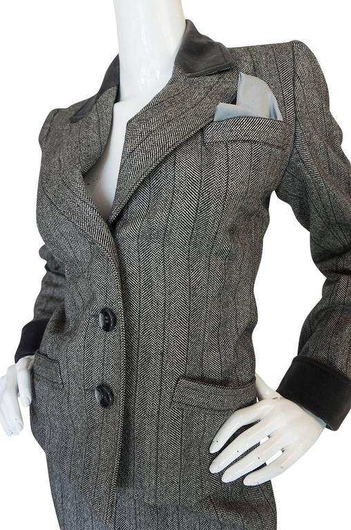 1980s Yves Saint Laurent Haute Couture Herringbone Suit For Sale 3