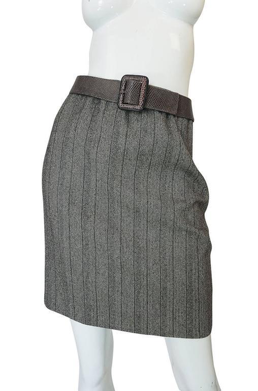 1980s Yves Saint Laurent Haute Couture Herringbone Suit For Sale 4