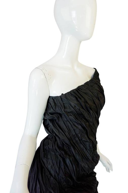 1980s Antony Price Unusual Ruched One Shoulder Dress 4