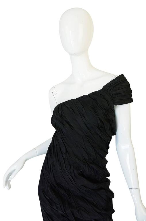 1980s Antony Price Unusual Ruched One Shoulder Dress 8