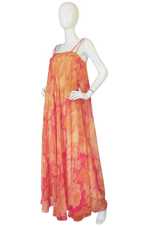 1960s Unlabelled Floral Chiffon Dress with Cape Overlay 6