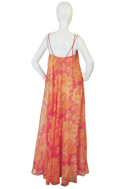 1960s Unlabelled Floral Chiffon Dress with Cape Overlay 4