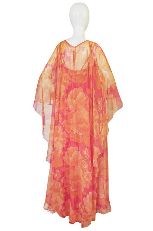 1960s Unlabelled Floral Chiffon Dress with Cape Overlay 3