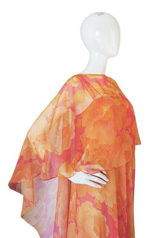 1960s Unlabelled Floral Chiffon Dress with Cape Overlay 7
