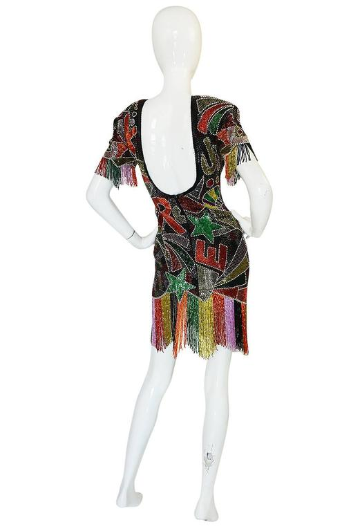 1980s Lillie Rubin Low Back Beaded Fringe Dress 2