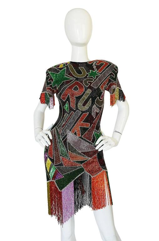 1980s Lillie Rubin Low Back Beaded Fringe Dress In Excellent Condition For Sale In Toronto, ON