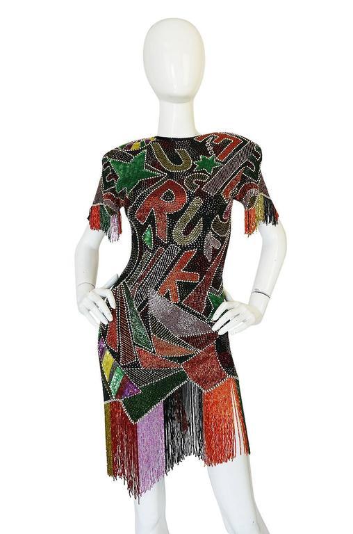 1980s Lillie Rubin Low Back Beaded Fringe Dress 4