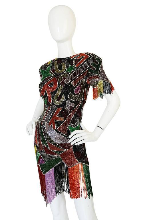 1980s Lillie Rubin Low Back Beaded Fringe Dress 5