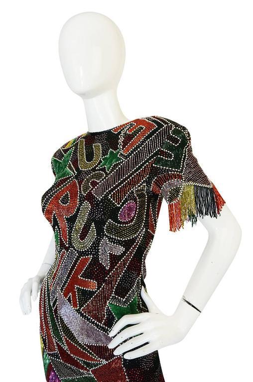 1980s Lillie Rubin Low Back Beaded Fringe Dress 6