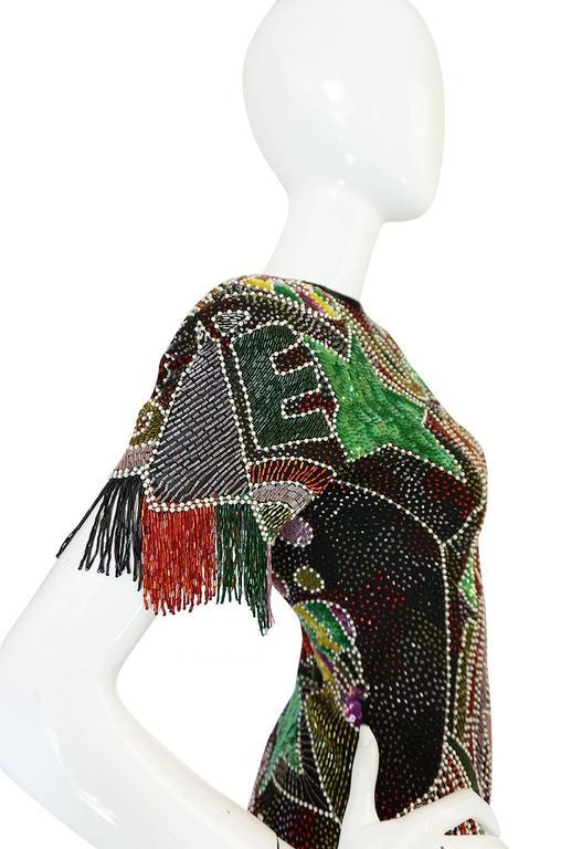 1980s Lillie Rubin Low Back Beaded Fringe Dress 7
