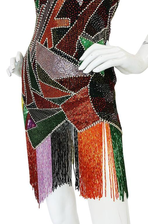1980s Lillie Rubin Low Back Beaded Fringe Dress 8