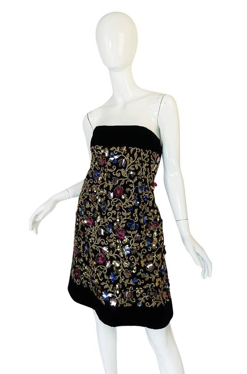 1960s Arnold Scaasi Couture Metallic Applique Dress Set For Sale 1