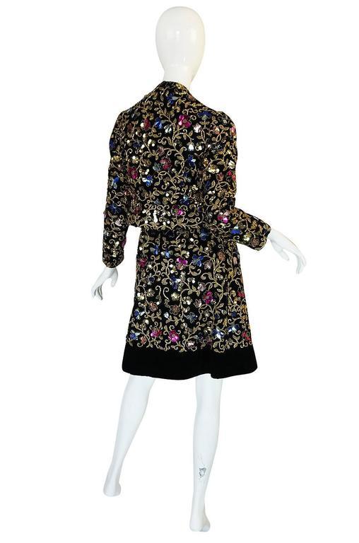 Black 1960s Arnold Scaasi Couture Metallic Applique Dress Set For Sale