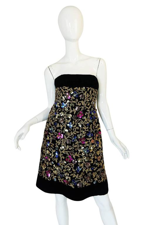 Women's 1960s Arnold Scaasi Couture Metallic Applique Dress Set For Sale