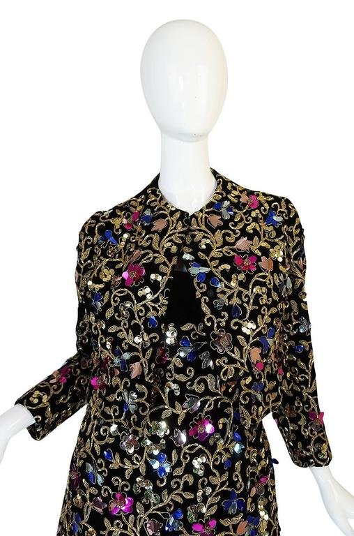 1960s Arnold Scaasi Couture Metallic Applique Dress Set For Sale 2