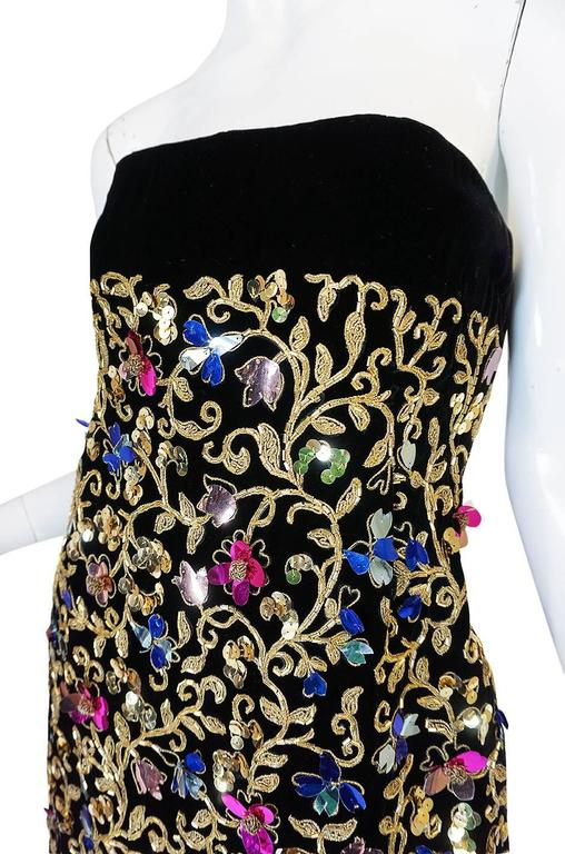 1960s Arnold Scaasi Couture Metallic Applique Dress Set For Sale 3
