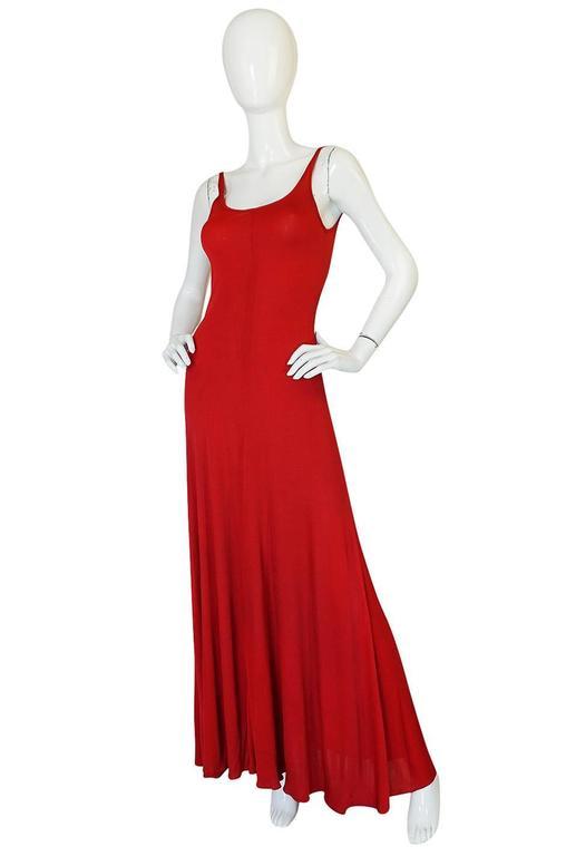 c1971 Halston Red Silk Knit Jersey Bias Cut Tank Dress 3