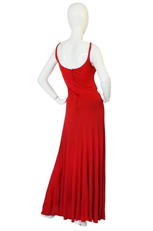 c1971 Halston Red Silk Knit Jersey Bias Cut Tank Dress 2
