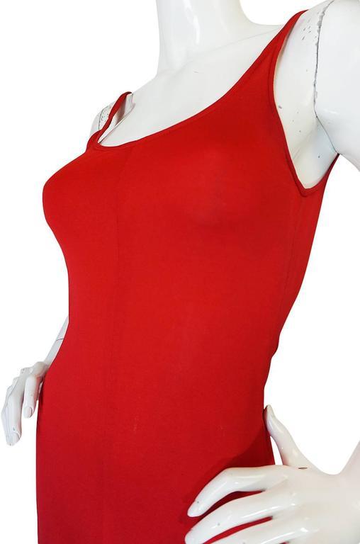 c1971 Halston Red Silk Knit Jersey Bias Cut Tank Dress 7