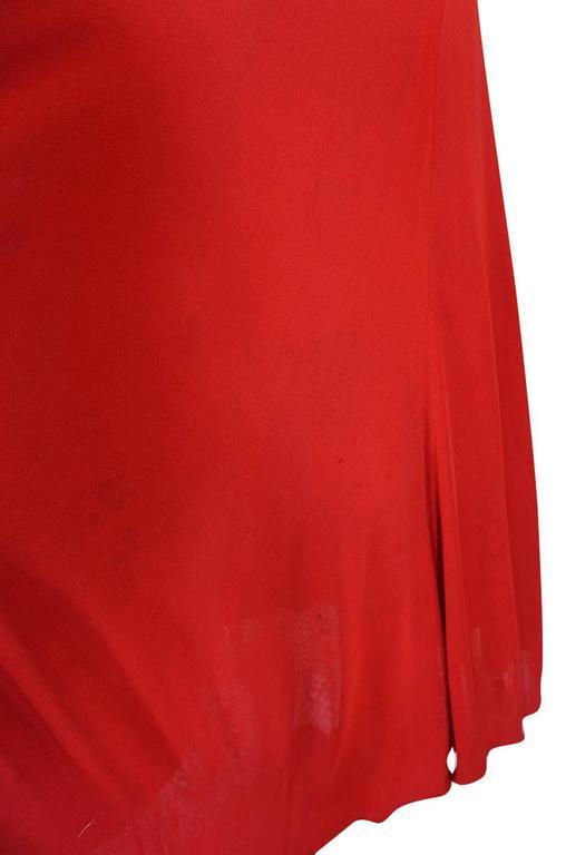 c1971 Halston Red Silk Knit Jersey Bias Cut Tank Dress 8