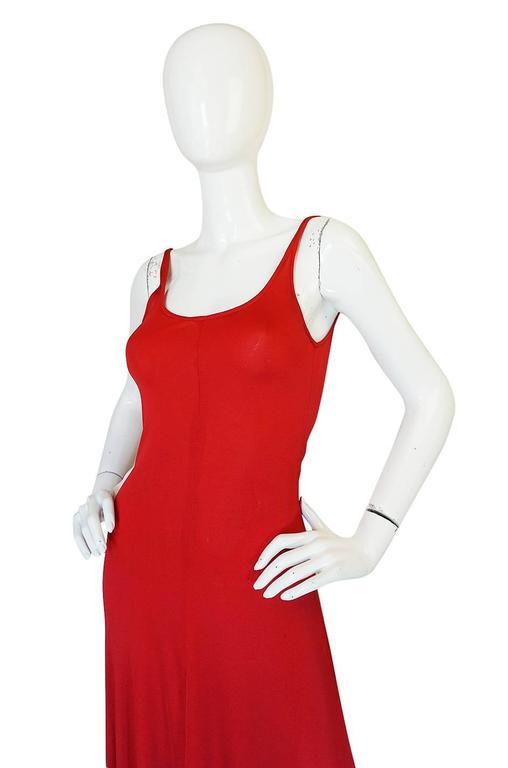 c1971 Halston Red Silk Knit Jersey Bias Cut Tank Dress 5