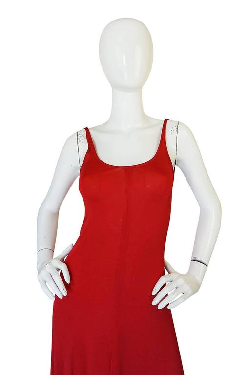 c1971 Halston Red Silk Knit Jersey Bias Cut Tank Dress 4